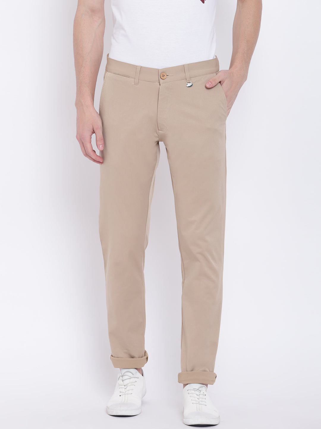 Men Casual Solid Tan Chinos - JUMP USA