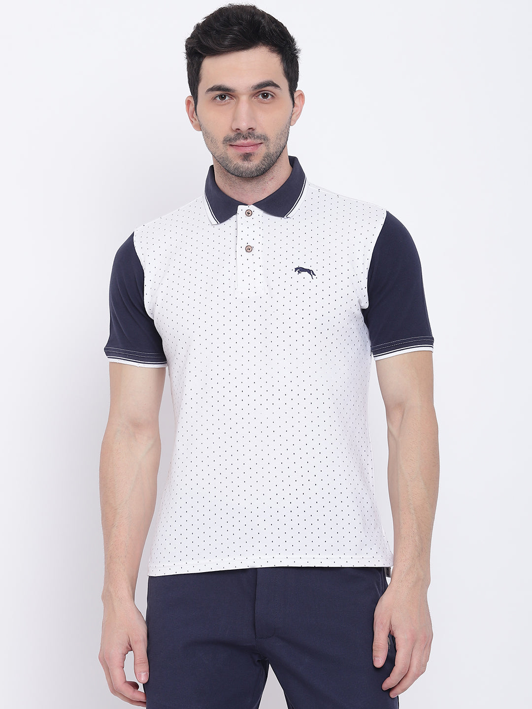 Men Casual Solid White Polo Collar T-Shirt
