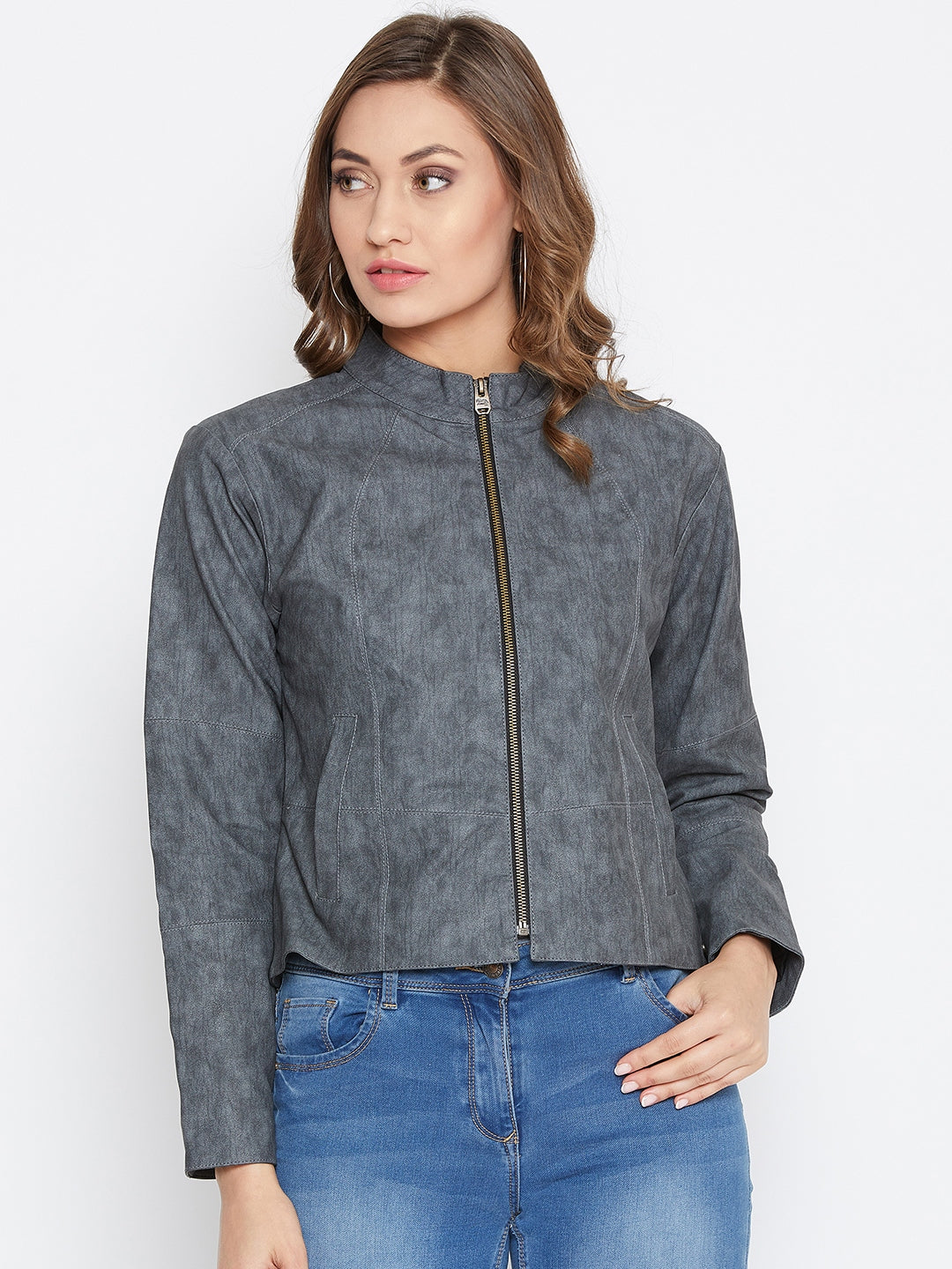 JUMP USA Women Grey Solid Casual Leather Jacket