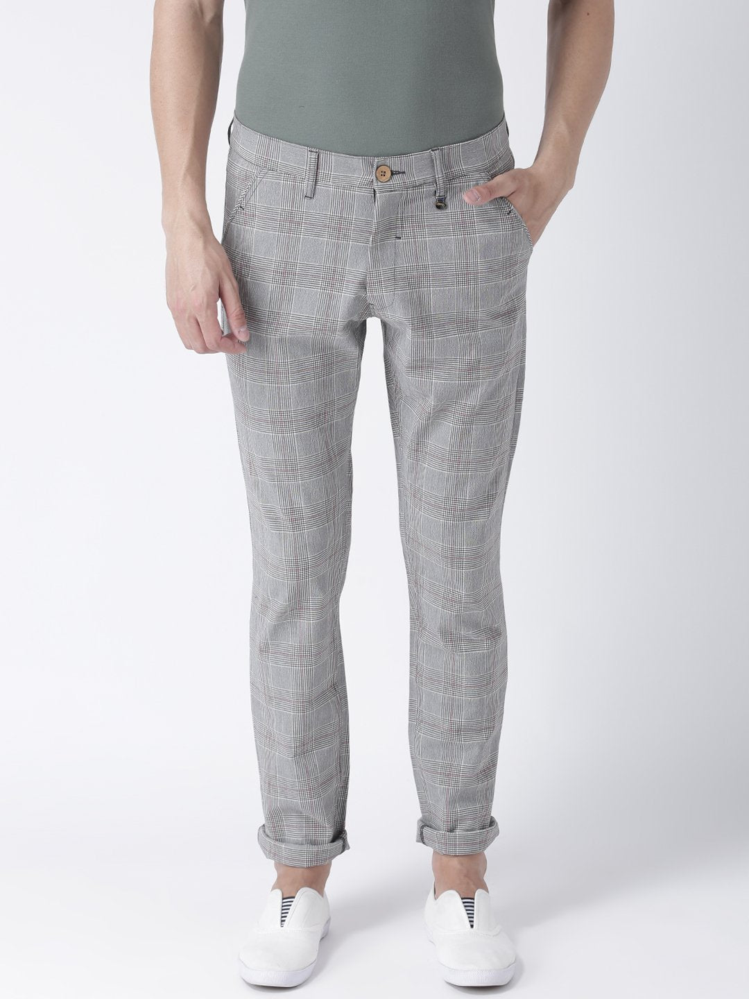Men Grey Melange Relaxed  Fit Checked Chinos