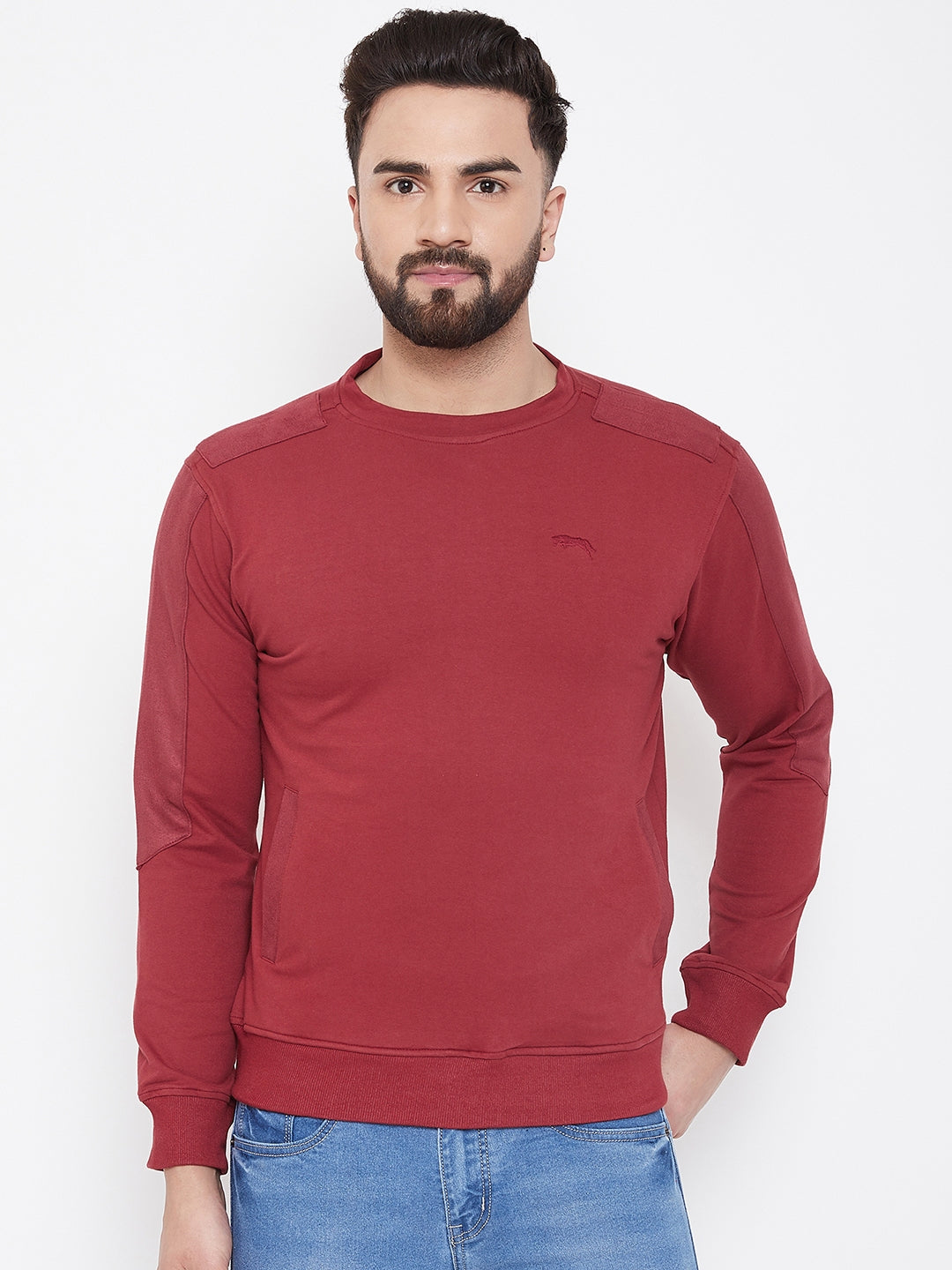 JUMP USA Men Red Solid Sweatshirt