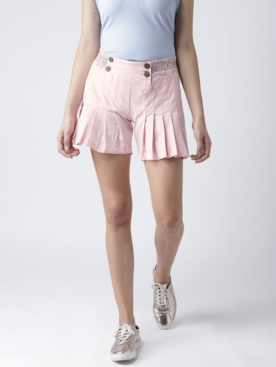 Women Pink Casual Shorts - JUMP USA