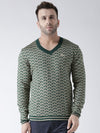 Men Green and Beige Colourblocked Pullover - JUMP USA