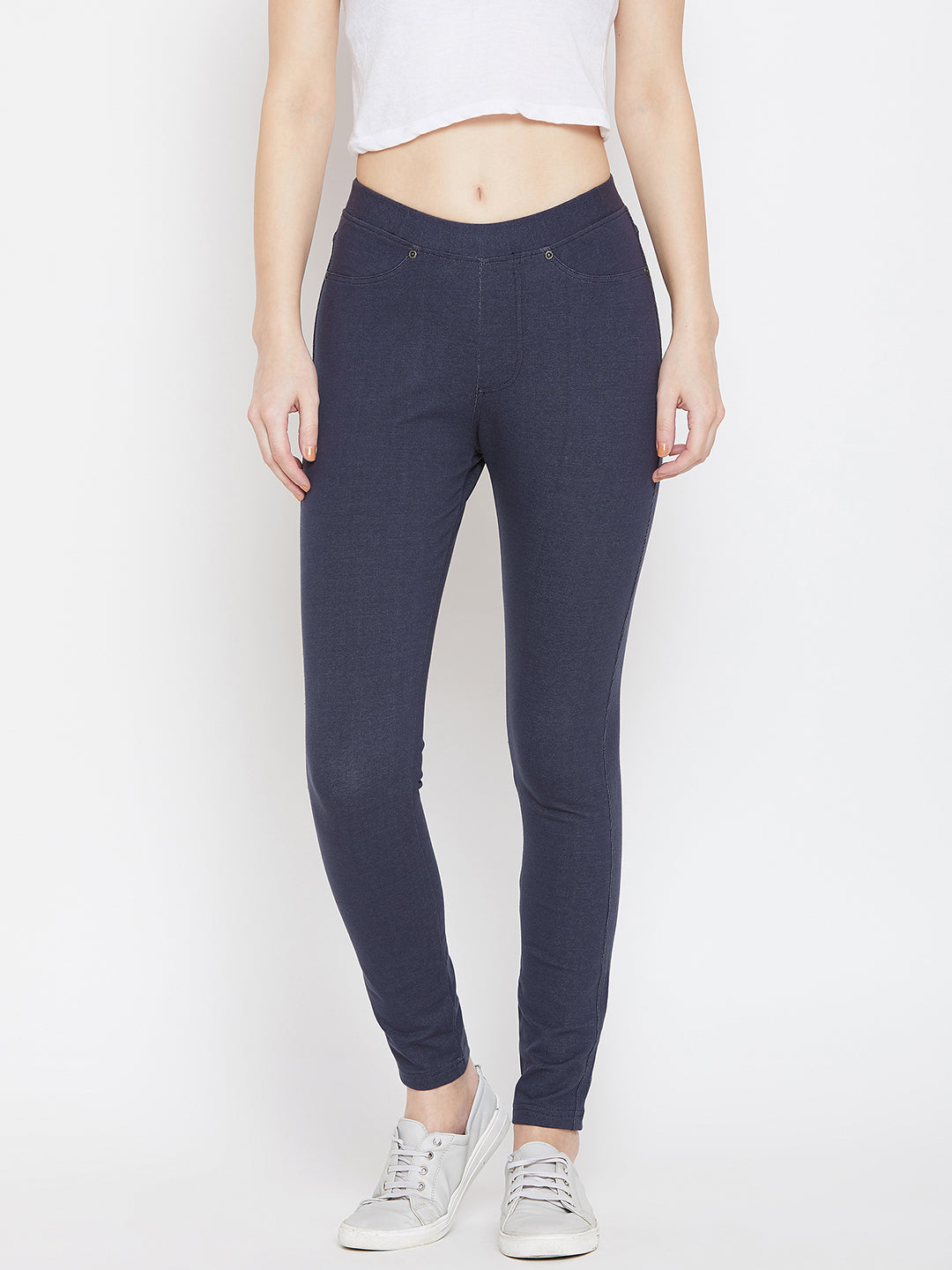 Women Navy Blue Casual Tights