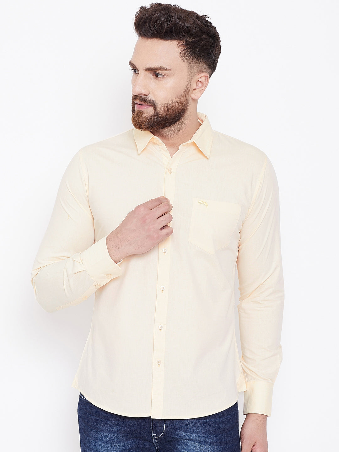 JUMP USA Men Cream Solid Regular Fit Casual Shirts