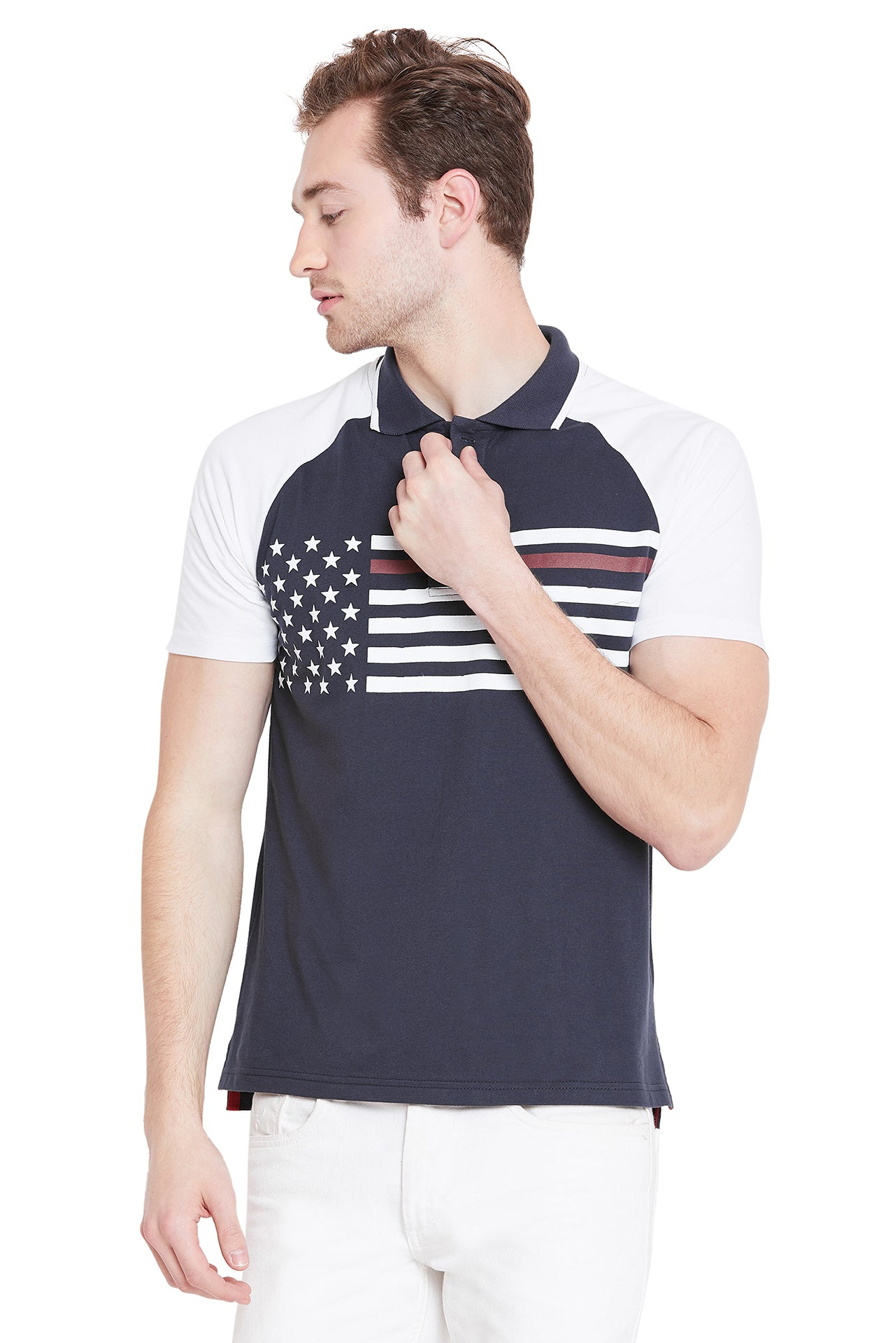Men Navy Blue Solid Casual Polo T-shirts