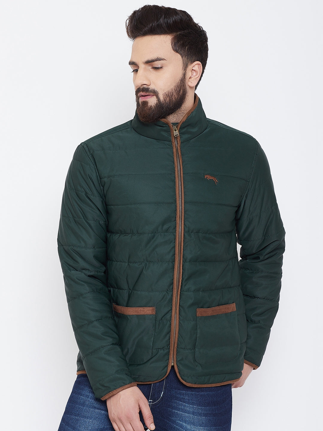 JUMP USA Men Green Solid Casual Quilted Jacket