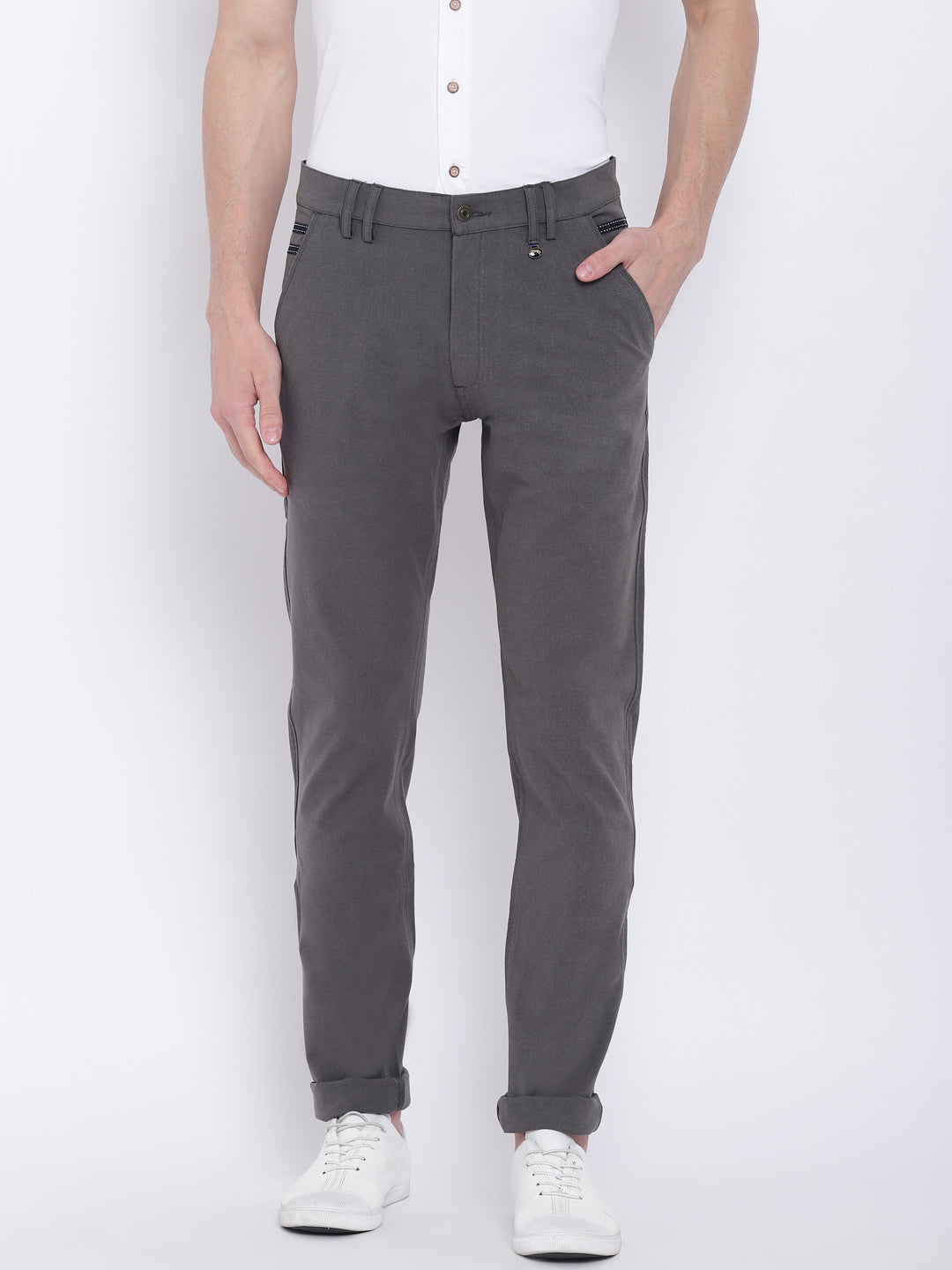 Men Casual Solid Charcoal Chinos