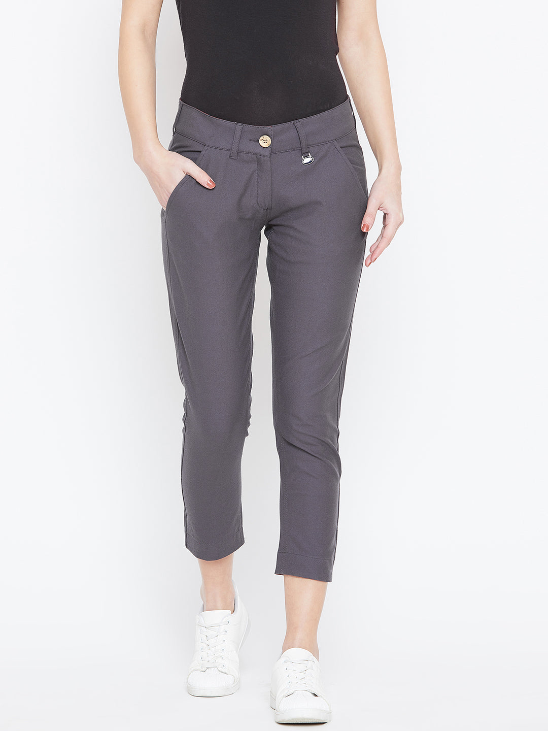 Women Grey Solid Skinny Fit Chinos Trousers