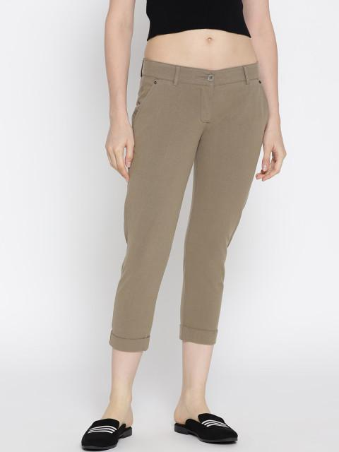 Women Solid Cropped Chinos - JUMP USA