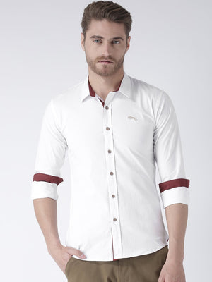 JUMP USA Men White Solid Cotton Regular Fit Shirt - Jump USA