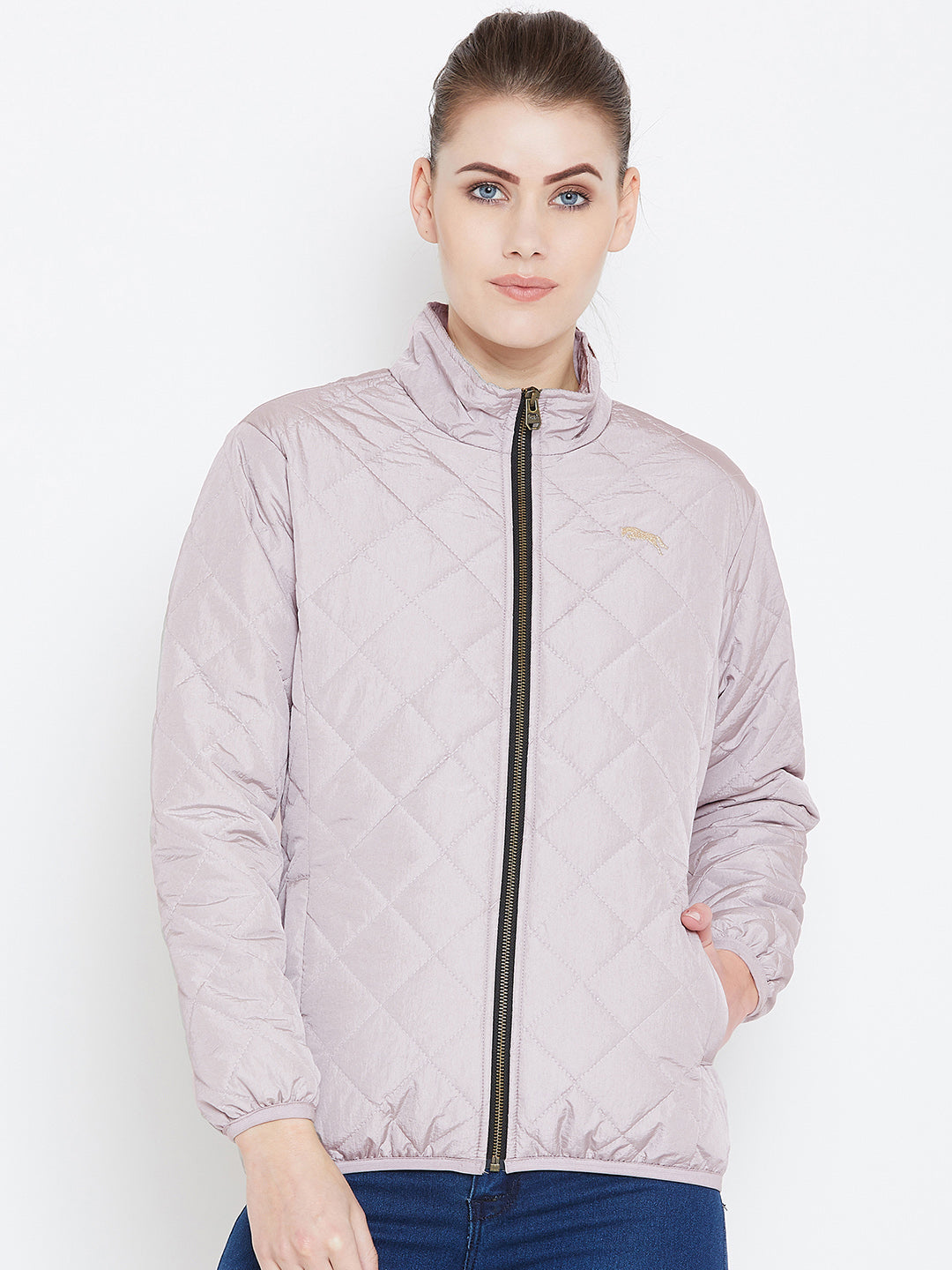Womens Solid Silver Quilted Jacket - JUMP USA