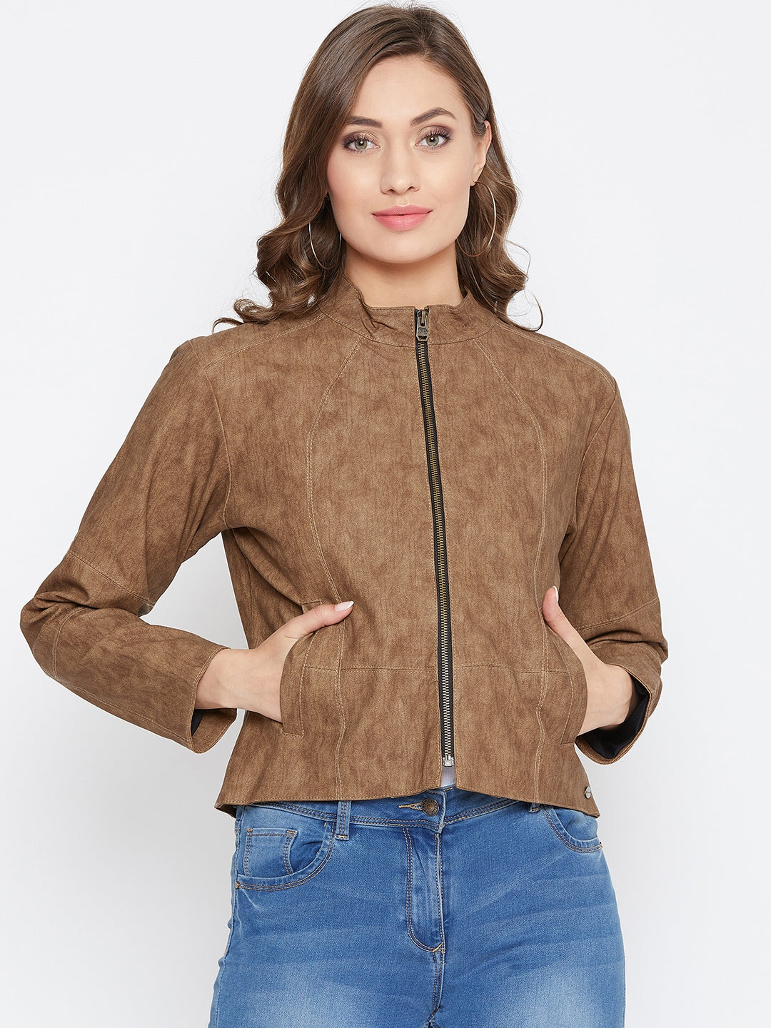 JUMP USA Women Tan Solid Casual Leather Jacket