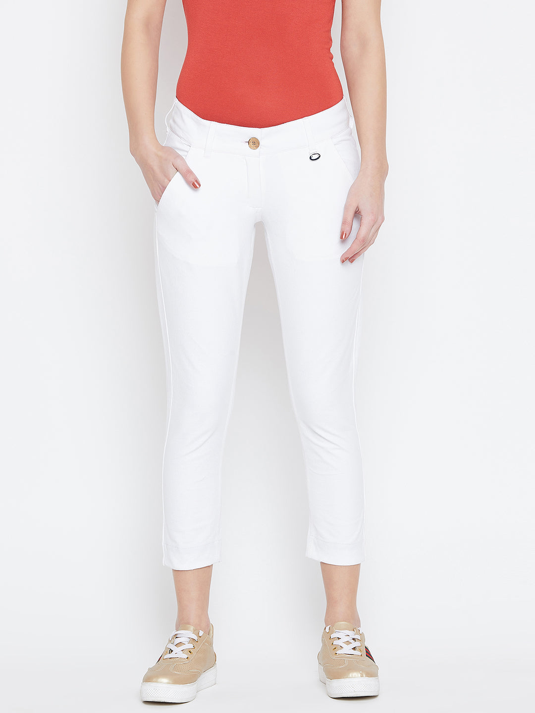 Women White Solid Skinny Fit Trouses - JUMP USA