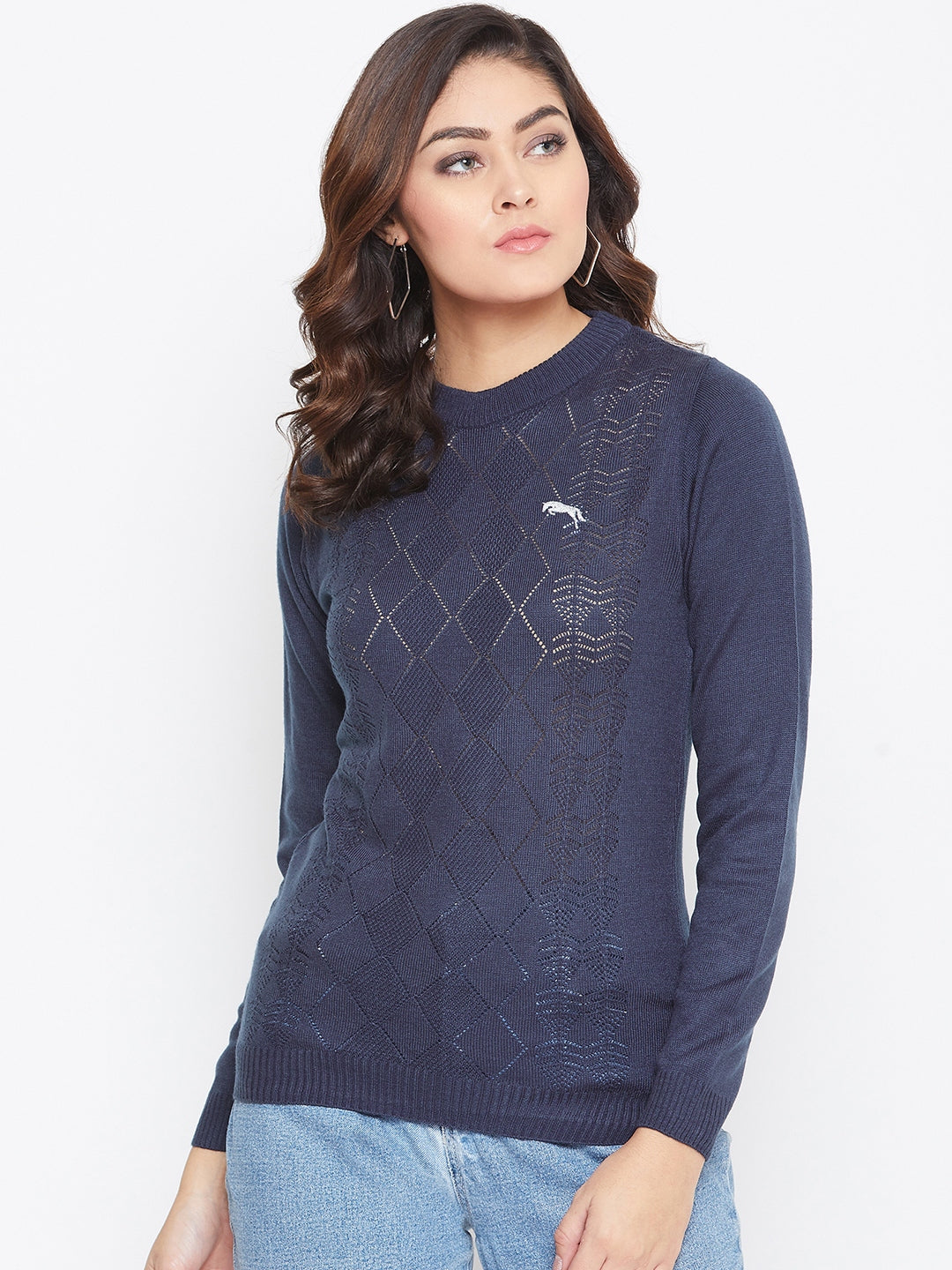 JUMP USA Women Navy Blue Self Design Sweater
