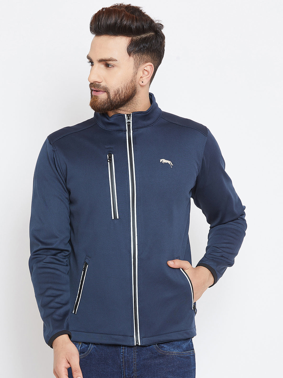 Men Navy Blue Solid Sporty Jacket