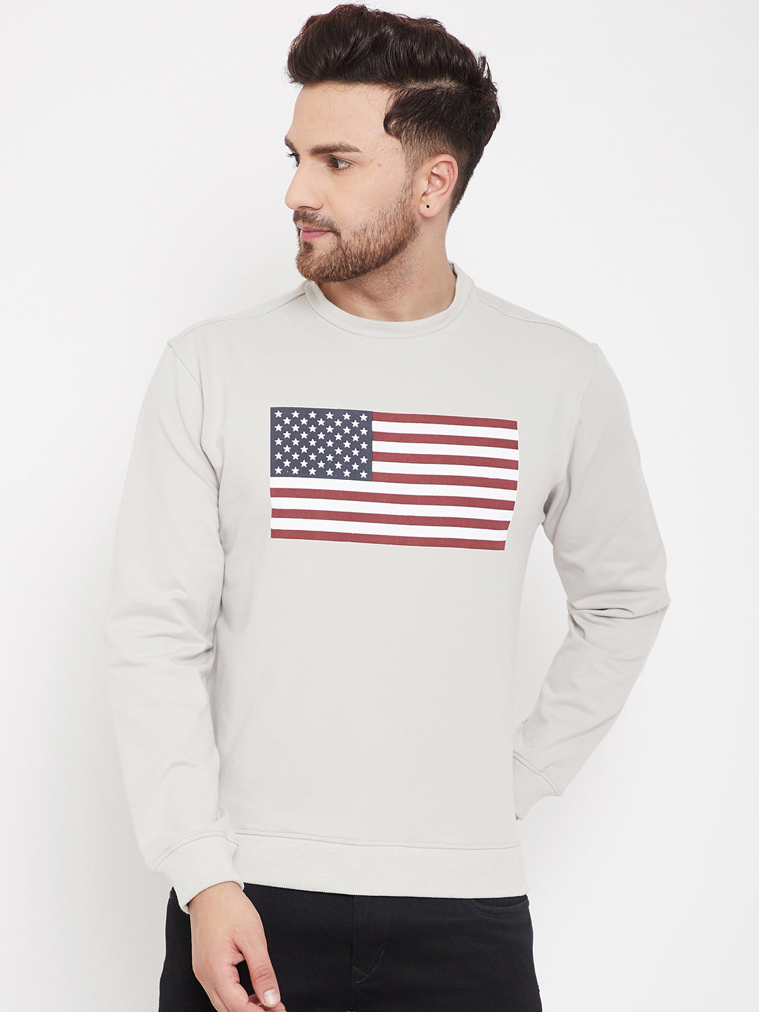 JUMP USA Men Grey Printed Sweatshirt