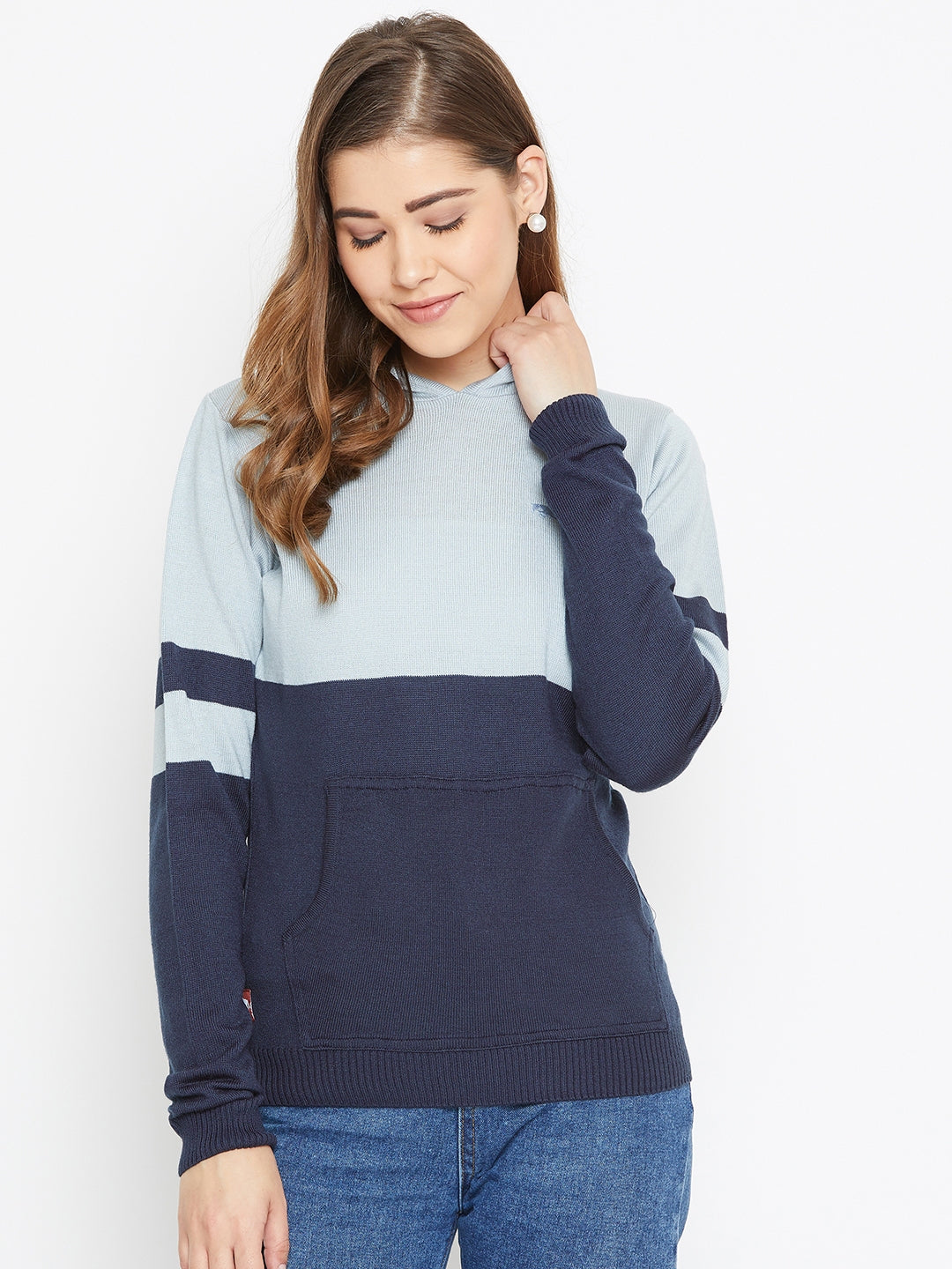 JUMP USA Women Blue Colourblocked Hooded Sweater - JUMP USA