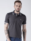 Men Charcoal Solid Polo T-shirt - JUMP USA