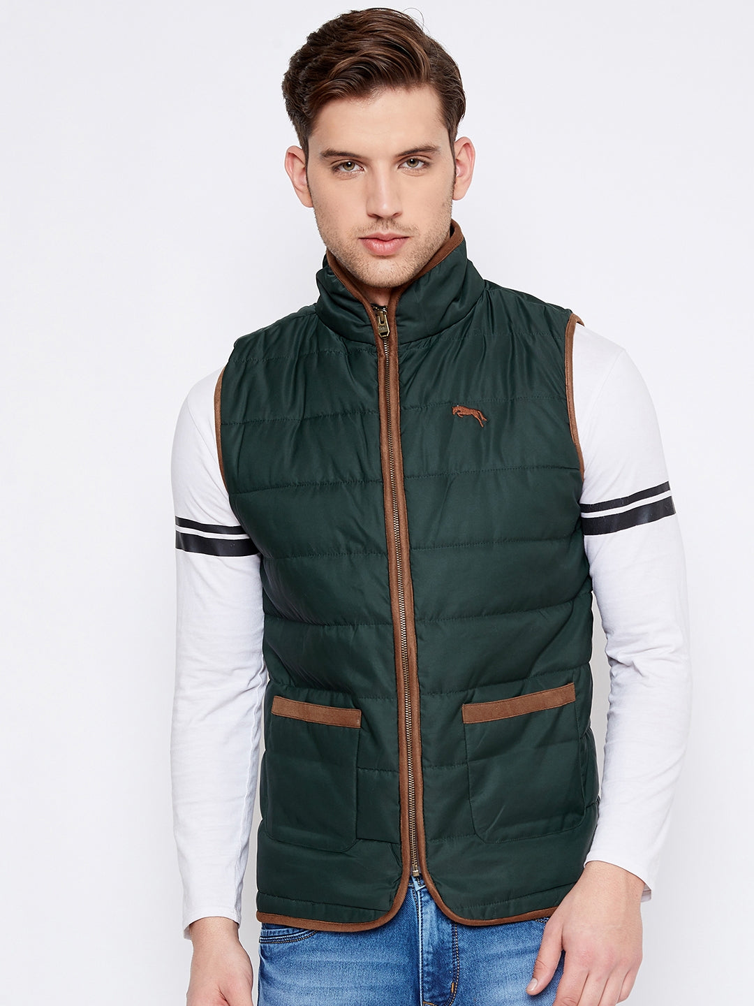 JUMP USA Men Green Sleeveless Padded Jacket