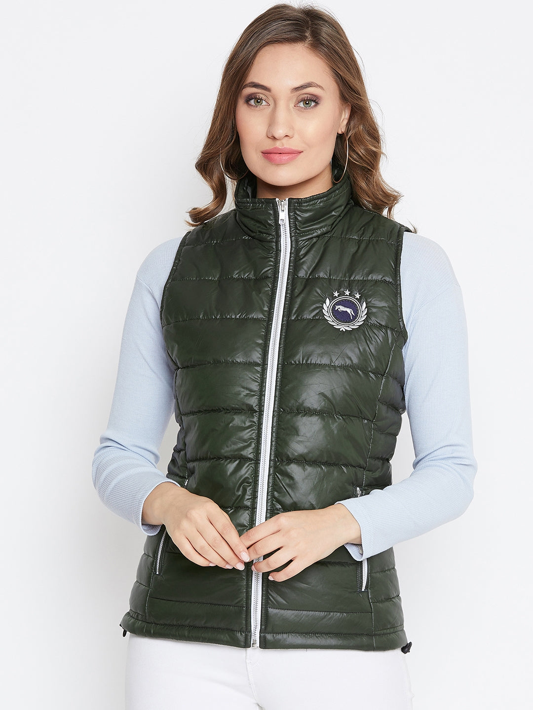 JUMP USA Women Green Solid Padded Jacket