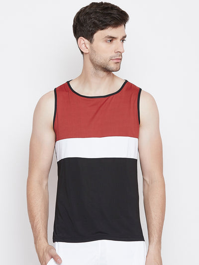 JUMP USA Men Black & Red Polyster Sports Round Neck T-Shirt - JUMP USA