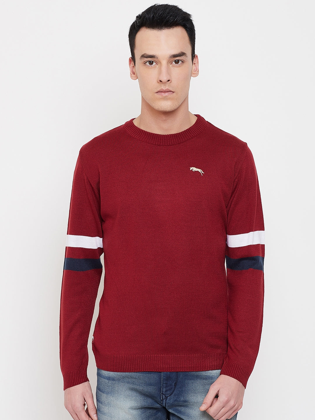 JUMP USA Men Red Solid Sweater - JUMP USA