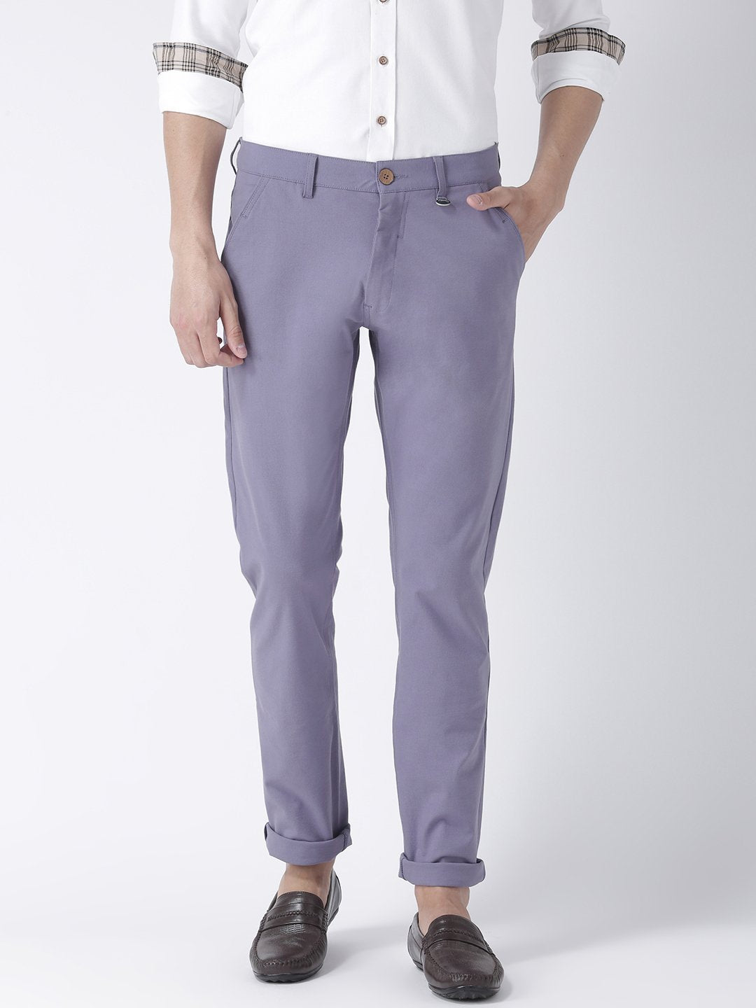 Men Lavender Slim Fit Solid Chinos - JUMP USA