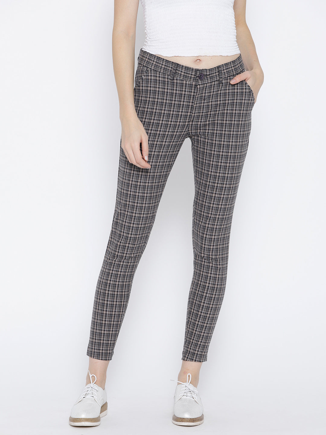 Women Grey Checked Regular Trousers