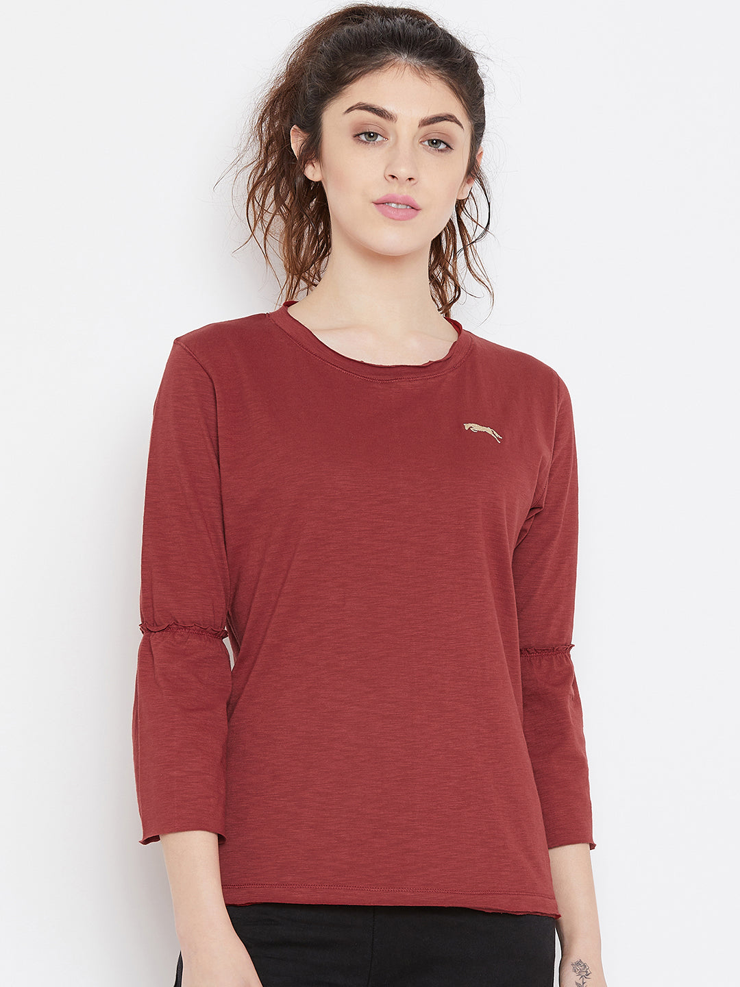 Women Red Solid Casual Tops