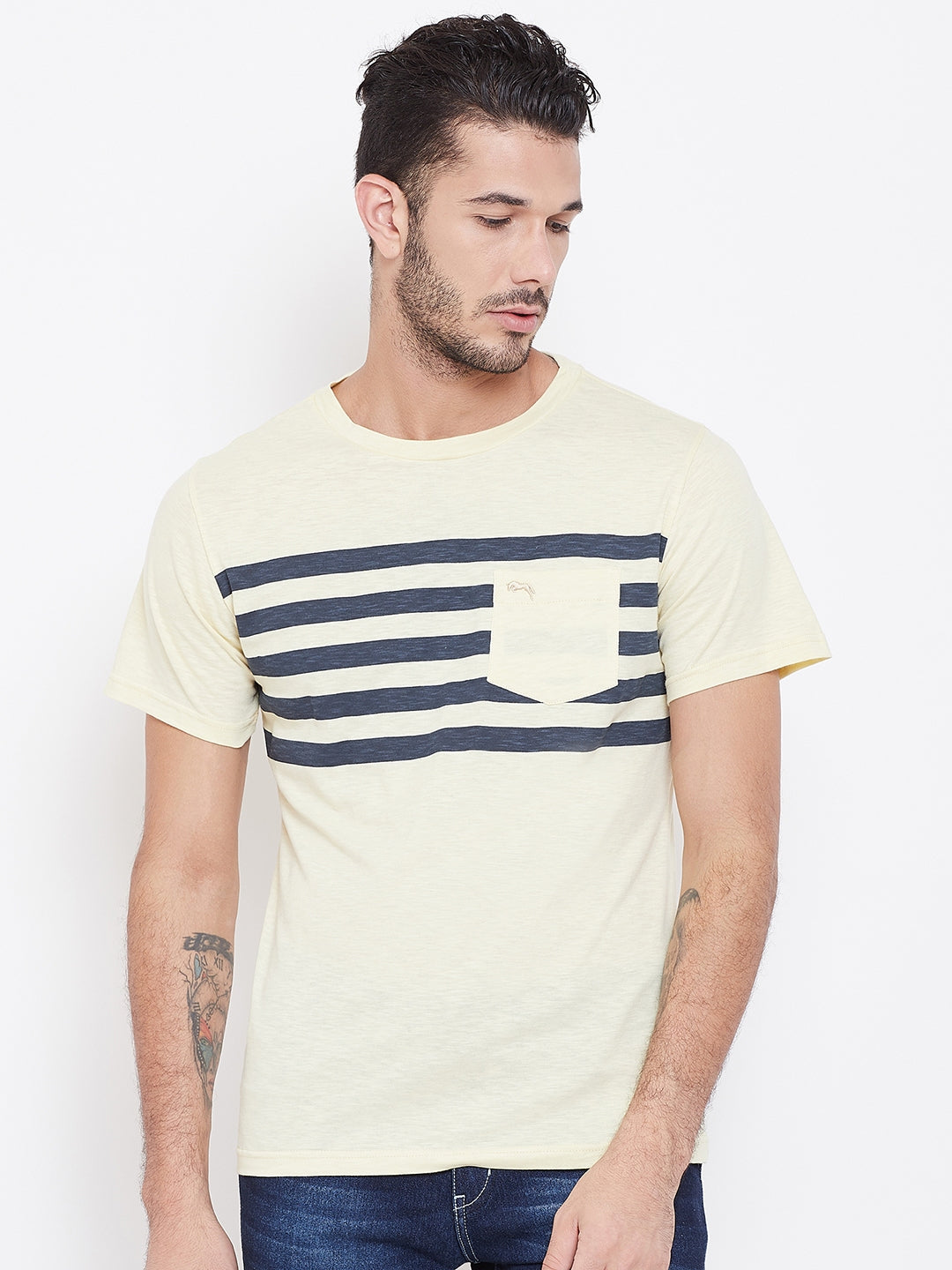 Men Beige Striped Round Neck T-shirt