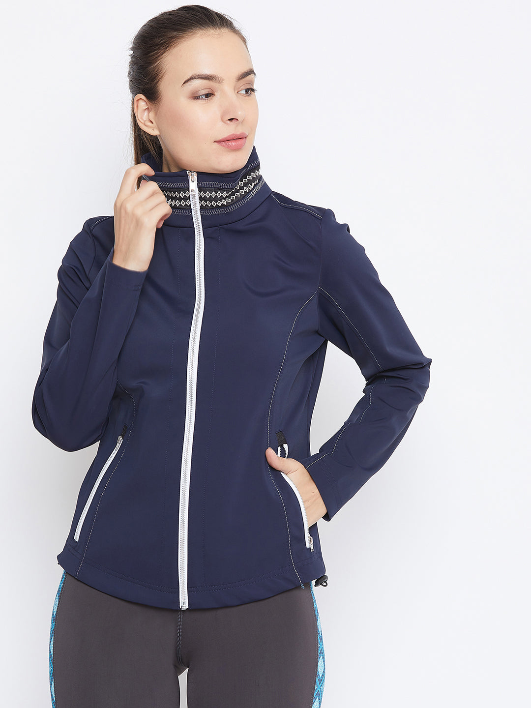 JUMP USA Women Navy Blue Solid Sporty Jacket - JUMP USA