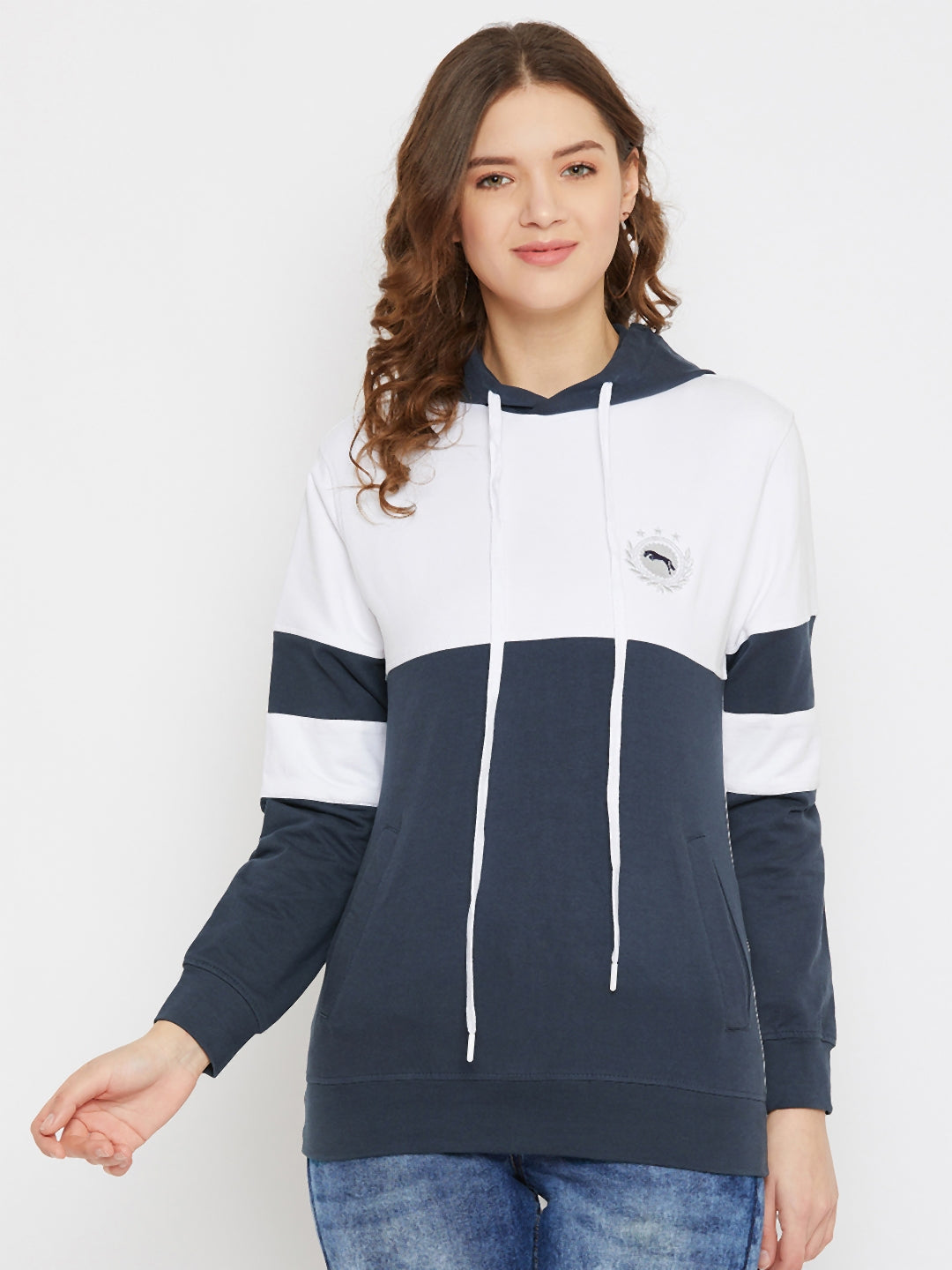 JUMP USA Women Navy Blue Cotton Hooded Sweatshirt