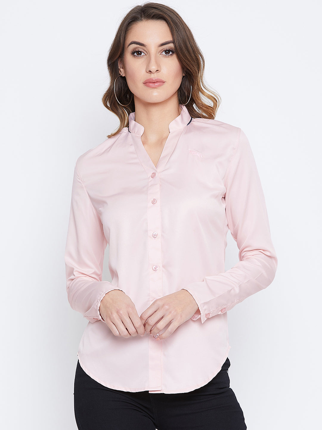 JUMP USA Women Pink Solid Casual Shirts