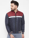 JUMP USA Men Navy Blue Colourblocked Padded Jacket - JUMP USA