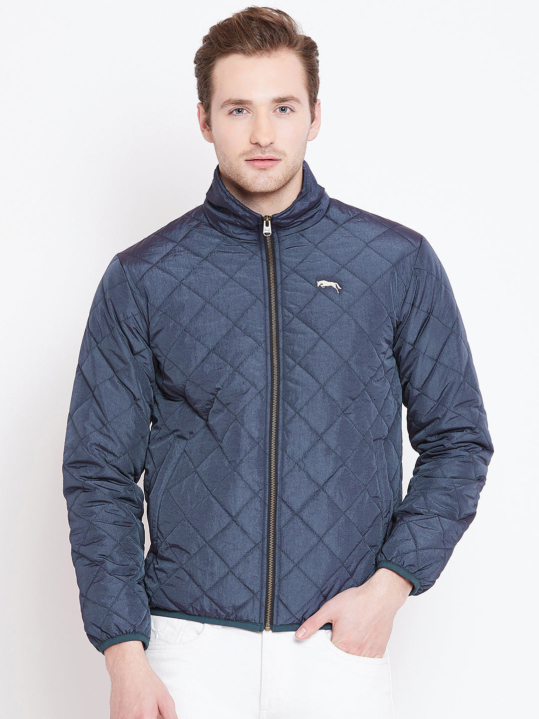 Mens Solid Ec Navy Quilted Jacket