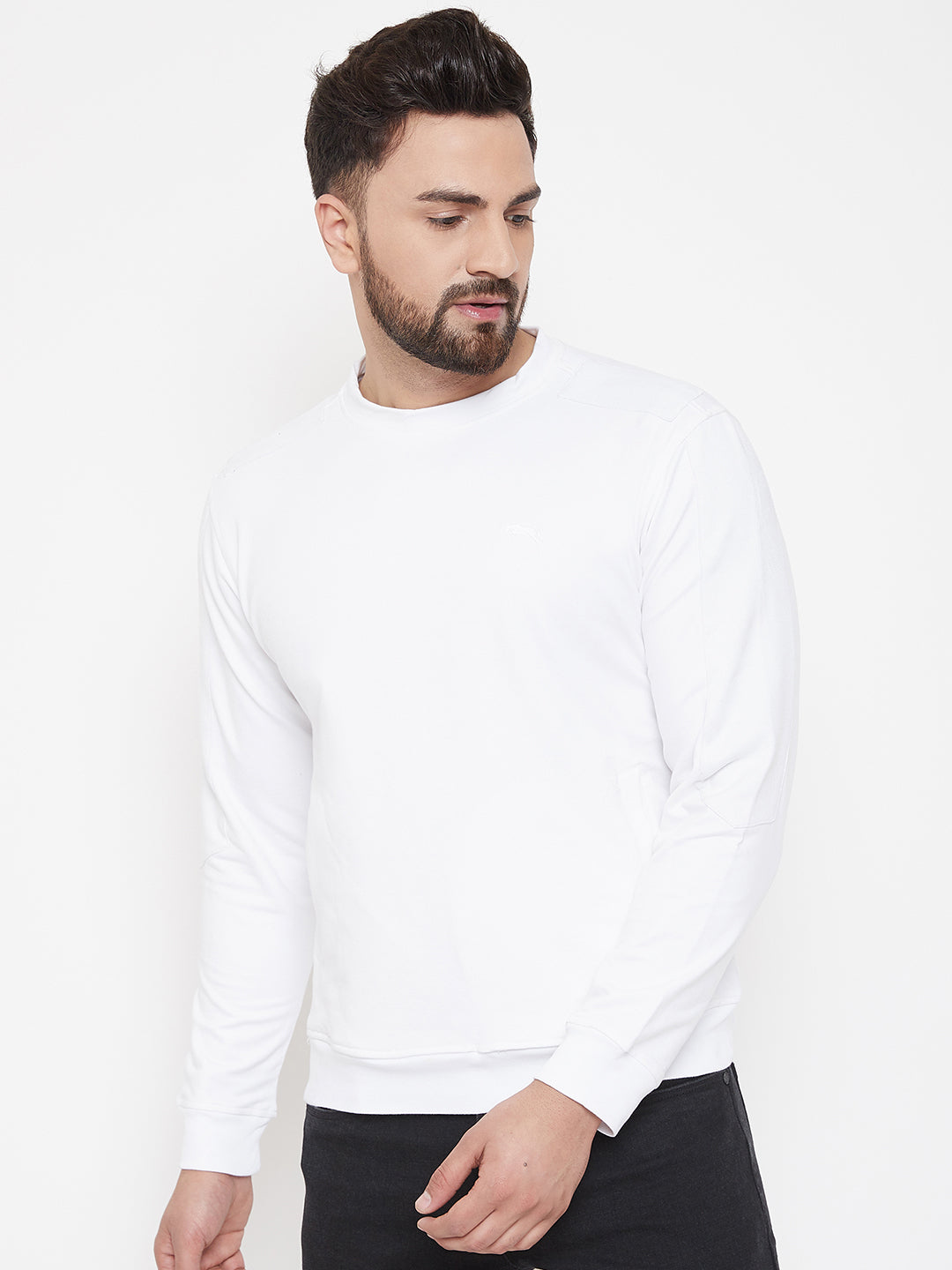 JUMP USA Men White Solid Pullover Sweatshirt