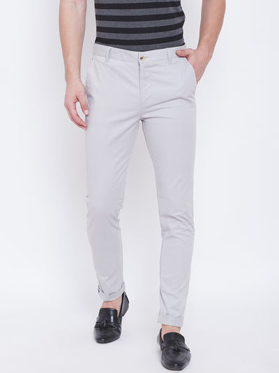 JUMP USA Men Grey Casual Slim Fit Trousers - JUMP USA