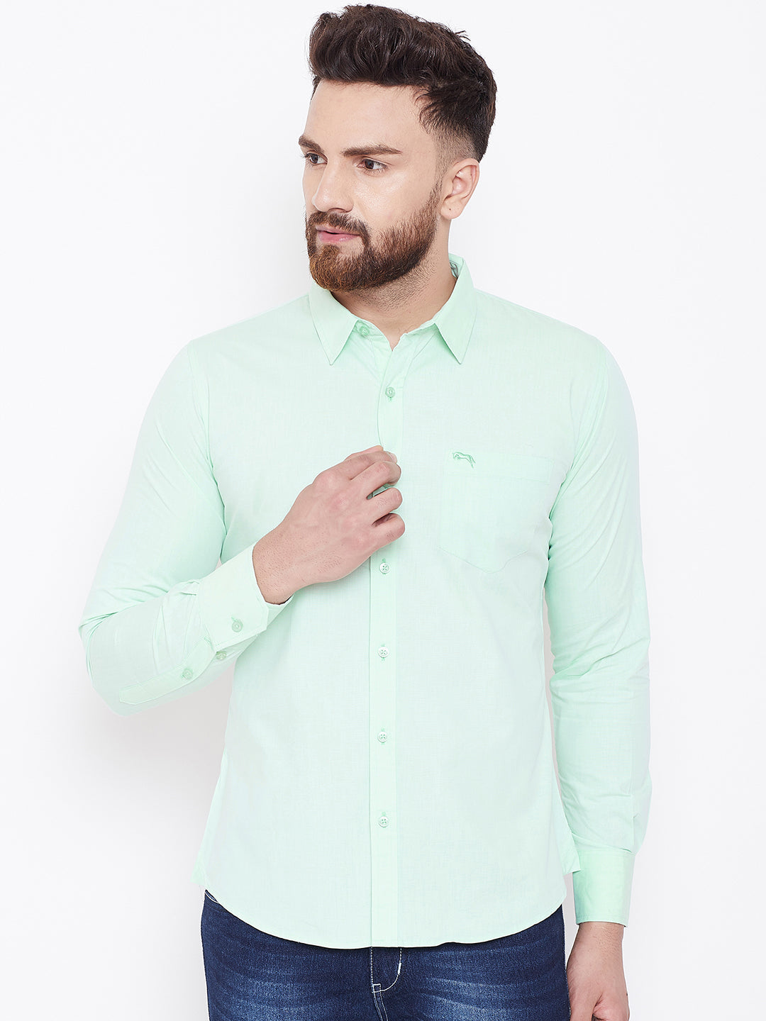 JUMP USA Men Green Solid Regular Fit Casual Shirts