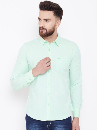JUMP USA Men Green Solid Regular Fit Casual Shirts - JUMP USA