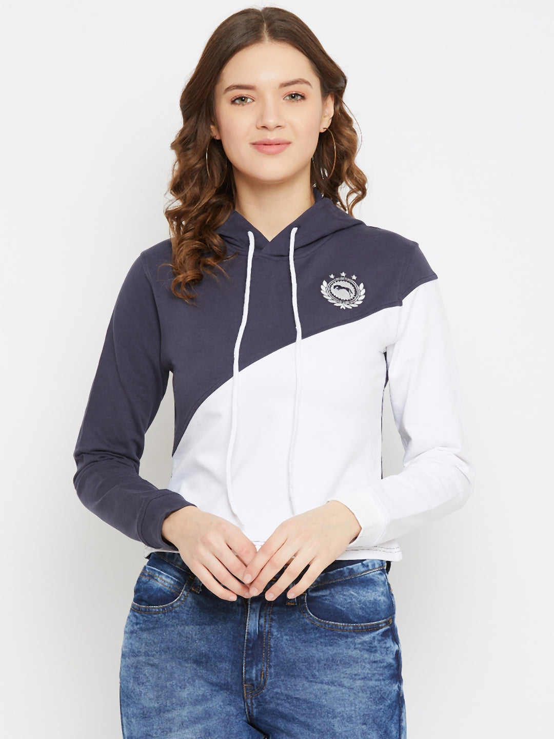 JUMP USA Women White Cotton Hooded Sweatshirt