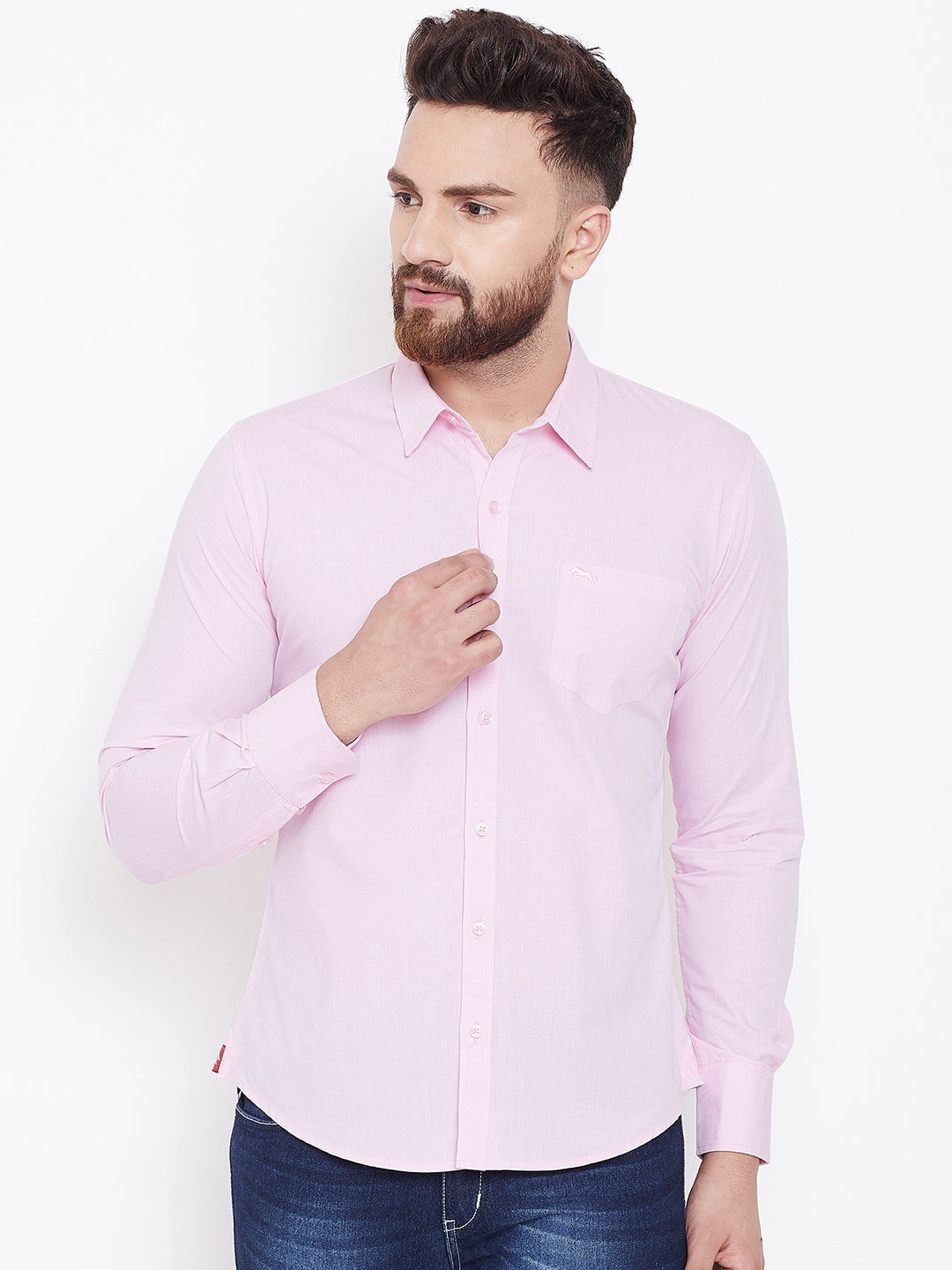 JUMP USA Men Pink Solid Regular Fit Casual Shirts - JUMP USA