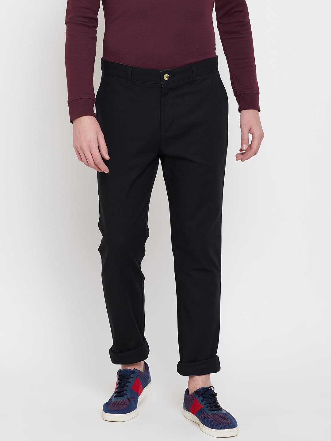 JUMP USA Men Black Casual Slim Fit Trousers - JUMP USA