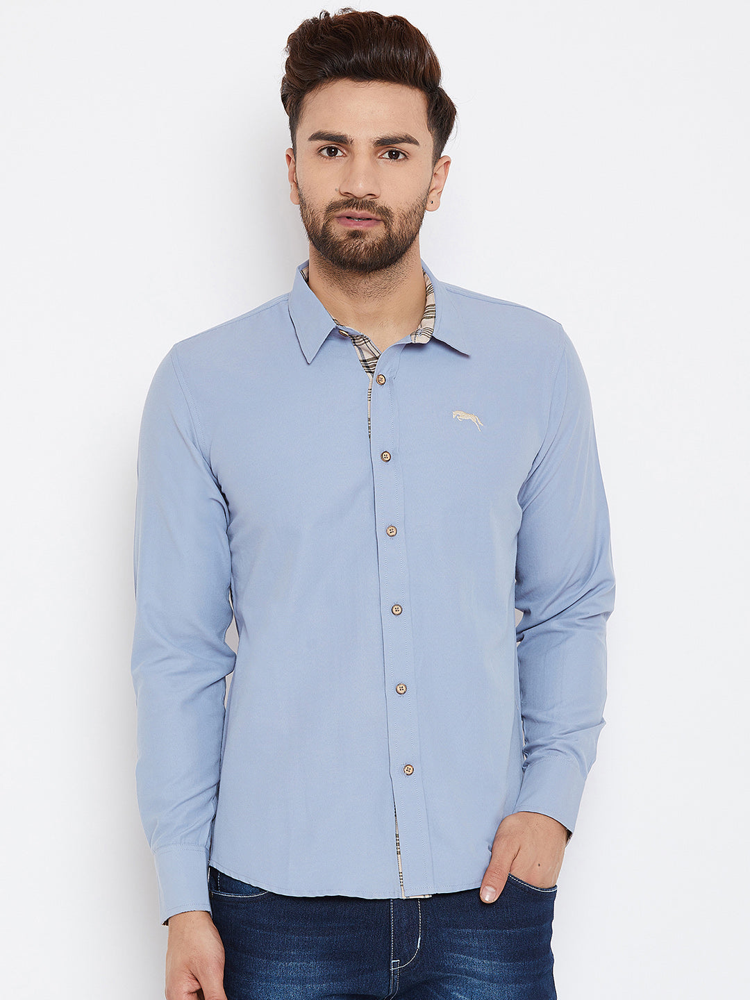JUMP USA Men Blue Regular Fit Solid Casual Shirt