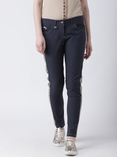 Women Navy Blue Slim Fit Solid Casual Trousers - JUMP USA