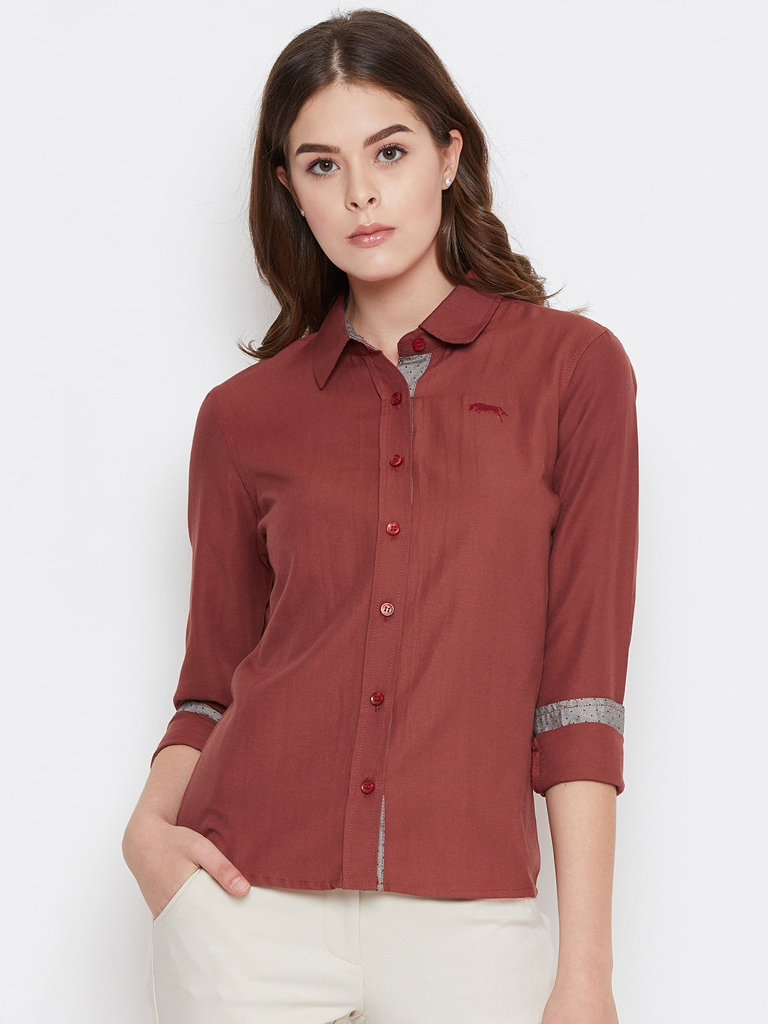 Women Red Solid Casual Slim Fit Shirt - JUMP USA