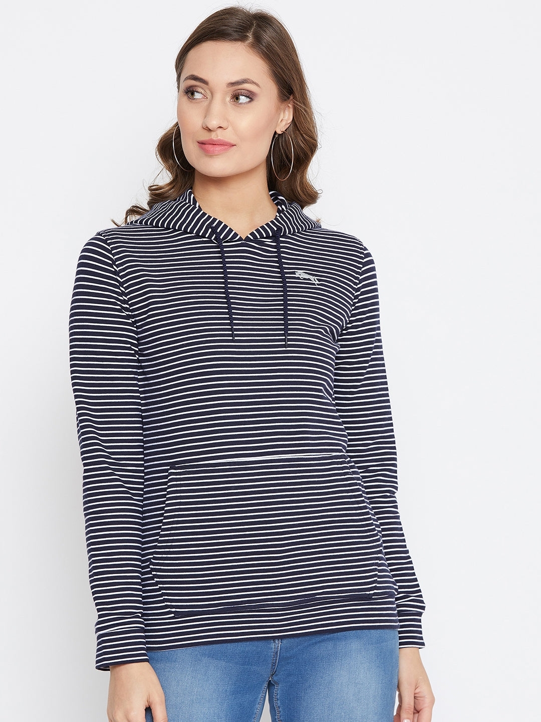 JUMP USA Women Navu Blue And White Striped Hoodies Sweatshits - JUMP USA