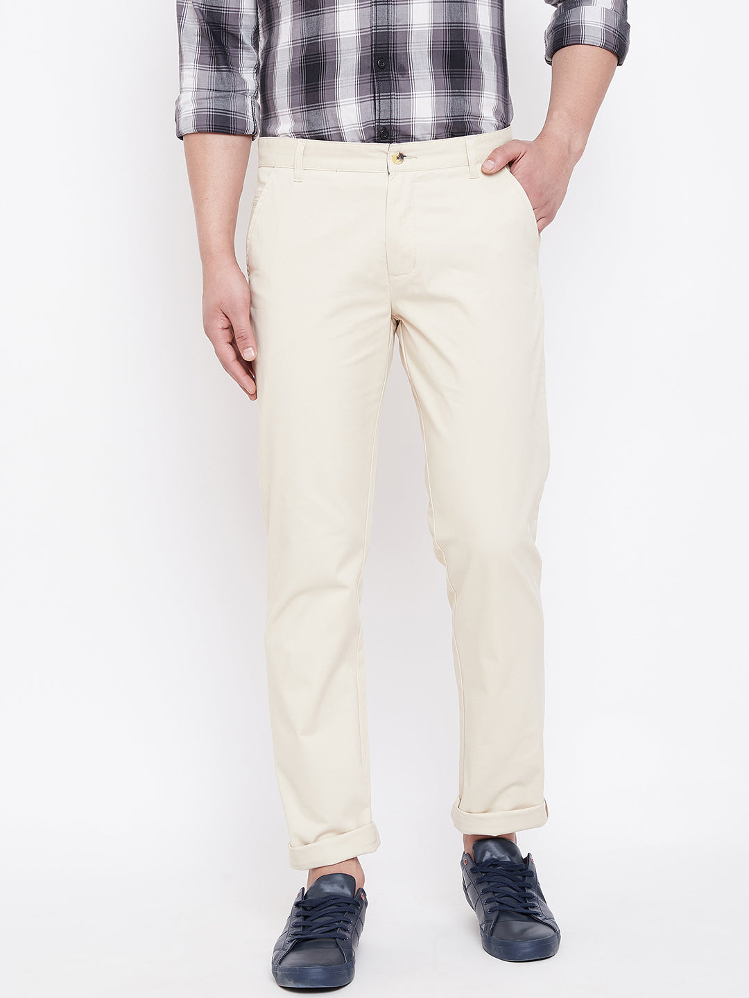 JUMP USA Men Beige Casual Regular Fit Trousers
