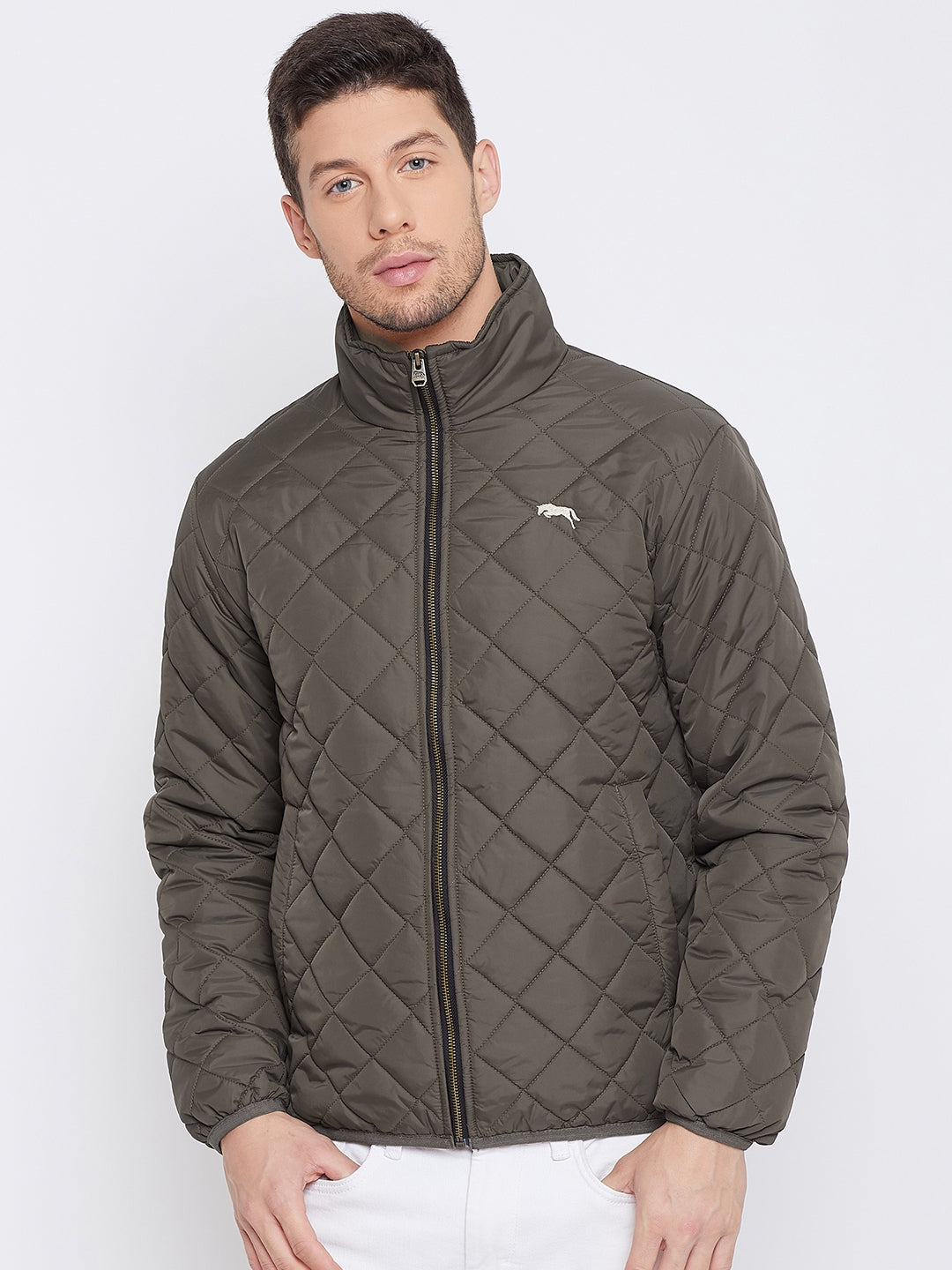 JUMP USA Men Olive Casual Quilted Jacket
