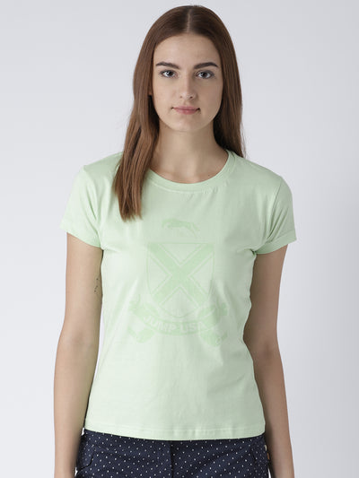 Women Solid Green T-Shirt - JUMP USA